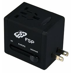 Fortron universal travel adapter with USB charger