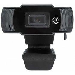 Manhattan webcam 1080p, Full HD, USB, Integrated Microphone, Adjustable Clip Base, 30 fps, Black, 462006