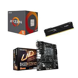 AMD Bundle Ryzen 2600 Tray Promo, B450M-S2H V2, DDR4 8GB HYPERX FURY 3200MHz
