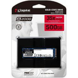 Kingston SSD 500GB, A2000, M.2 2280, NVMe, PCIe 3.0 x4, SA2000M8/500G
