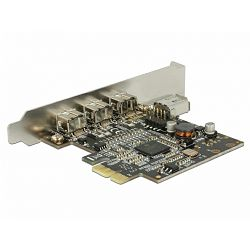 DELOCK FireWire, FireWire 800, 3x ext, 1xint, PCI-e card, 89864