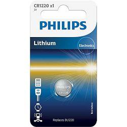 Baterija dugmasta, PHILIPS, CR1220, 3V, Lithium, CR1220/00B