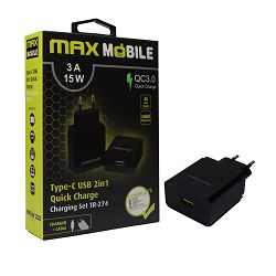 Punjač USB MAXMOBILE SET 2U1 QC 3.0 QUICK CHARGE USB+ TYPE C, 3A,15W crni