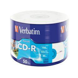 CD medij Verbatim 700MB 52× DataLife INKJET PRINTABLE 50 pack wrap