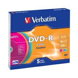 DVD-R medij Verbatim 16x Pastell Colours 5 pack Slimcase V043557