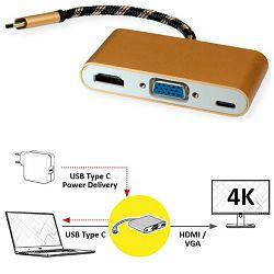 Adapter Roline GOLD USB3.1 Type C - VGA/HDMI+1×PD C (M/F); 12.03.3155