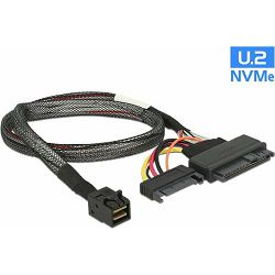 Kabel SFF-8643 male > U.2 SFF-8639 female + SATA power connector, 0.5m, Delock, 84819