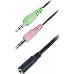 Transmedia Headset adapter cable 0,2m , 3.5 F to 2x 3.5 M