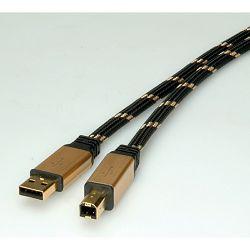 Kabel USB 2.0 AM/BM 3m, Roline Gold, crno/zlatni