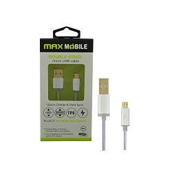 Kabel MAXMOBILE micro USB DOUBLE SIDED, 1m, srebrni