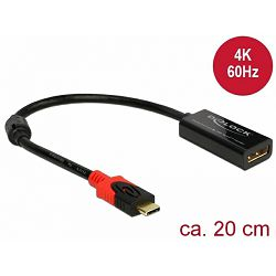 Adapter DELOCK, DisplayPort (Ž) na USB-C (M), 4K, crni