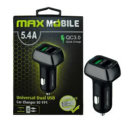 MAXMOBILE AUTO ADAPTER USB DUO SC-191 QC 3.0,27W QUICK CHARGE 5.4A crno-sivi