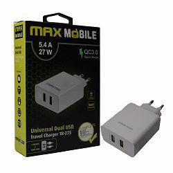 MAXMOBILE KUĆNI ADAPTER QC 3.0 QUICK CHARGE DUAL USB TR-275 5.4A,27W bijeli