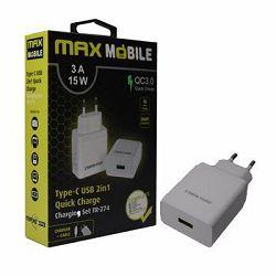 MAXMOBILE kućni punjač  SET 2U1 QC 3.0 QUICK CHARGE USB+ TYPE C, 3A,15W bijeli , TR-274