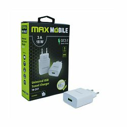 MAXMOBILE KUĆNI ADAPTER QC 3.0 QUICK CHARGE USB TR-207 , 3A, 18W, bijeli