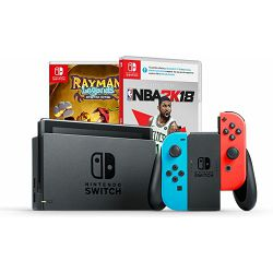 Nintendo Switch Console - Red & Blue Joy-Con + NBA 2K18 + Rayman Legends DE, NSRBCNBA2K18RAYLEDESW