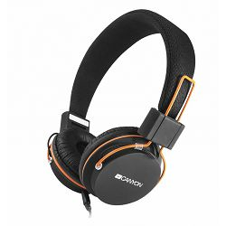 Canyon CNE-CHP2 headphones, detachable cable with microphone, foldable, black