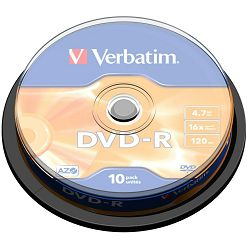 Medij DVD-R 4.7GB, 16x, Verbatim, 10 kom, spindle, 43523