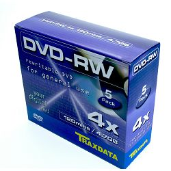 Medij DVD-RW 4.7 GB, 4x, TRAXDATA, 5 kom, 904344ATRA004