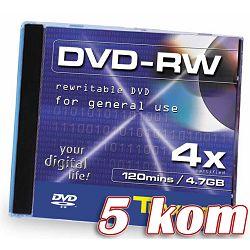 Medij DVD+RW 4.7GB, 4x, TRAXDATA, 5 kom