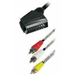 Kabel scart - RCA, Transmedia VM 11 S • Adapter Cable Scart-plug to 3 x RCA-plug • 2,0 m • with swi