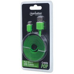 Kabel USB Micro M/M 1.8m za smarthphone Manhattan, green, 391351