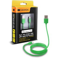 Kabel USB za Apple iPhone 5/6/7 Canyon, 1m, zeleni