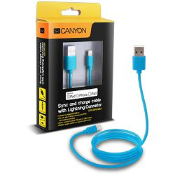 Kabel USB za Apple iPhone 5/6/7 Canyon, 1m, plavi