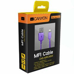 Kabel USB Apple iPhone5/6/7 Canyon ljubičasti, CNS-MFICAB01PU
