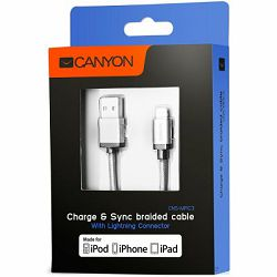 Kabel USB za Apple iPhone 5/6/7 Canyon, 1m, sivi