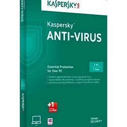 Kaspersky Anti-Virus 2016 EEMEA 1D retail renewal, obnova 1 licence 1 godina,  real-time automatsku