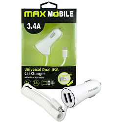 MAXMOBILE AUTO ADAPTER USB DUO CC-D016 3.4A + MICRO USB bijeli