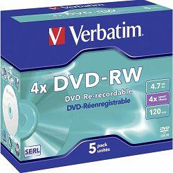 Medij DVD-RW 4.7GB, 4x, Verbatim, 5 kom, 43285