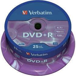 Medij DVD+R 4.7GB, 16x, Verbatim, 25 kom, spindle, 43500