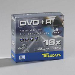 Medij DVD+R Traxdata, 16x, 5 kom pack