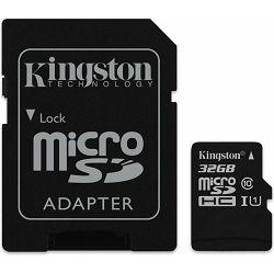 micro Secure Digital 32GB Kingston microSDHC kit, UHS-I/Class 10, SDC10G2/32GB