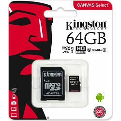 Micro Secure Digital 64GB Kingston Canvas Select, Class 10, SDCS/64GB