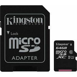 micro Secure Digital 64GB Kingston microSDXC kit, UHS-I/Class 10, SDC10G2/64GB