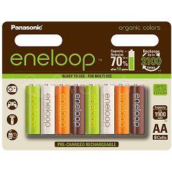 Panasonic 8 komada Ni-Mh baterije AA ENELOOP, organic colors, BK-3MCCE/8RE