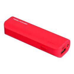 Powerbank Real Power PB2600, crven, Čvrsto gumeno kučište, Ulazni napon: 5 V \/ 1000 mA, Izlazni na