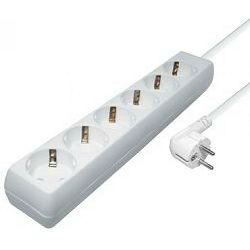 Produžna letvica Transmedia NV 4-5 W, 6-way Schuko Outlet power strip, White, 5,0 m cable length, H