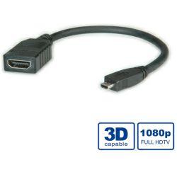 Adapter HDMI micro M/HDMI Ž 0.15m, Roline, 11.99.5584