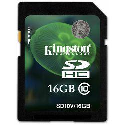 Secure Digital 16GB Kingston SDHC, Class 10, SD10V/16GB