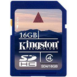 Secure Digital 16GB Kingston SDHC, Class 4, SD4/16GB