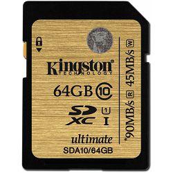 Secure digital 64GB Kingston, UHS-I Speed Class 10, SDA10/64GB, read write : 90MB/sec, 45 MB/sec