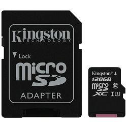 micro Secure Digital 128GB Kingston microSDXC kit, UHS-I/Class 10, SDCX10/128GB