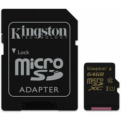 micro Secure Digital 64GB Kingston microSDXC kit, UHS-I/Class 10, SDCA10/64GB