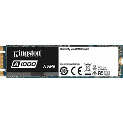 Kingston SSD 480GB, A1000, M.2 2280, NVMe PCIe 3.0 x2, SA1000M8/480G