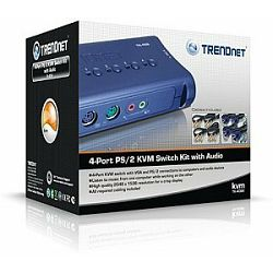Trendnet TK-408K, KVM Switch with audio, VGA, PS/2, 2048x1536