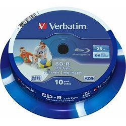 Medij BR-R 25GB, 6x, Verbatim, printable, 10 kom, spindle, 43751